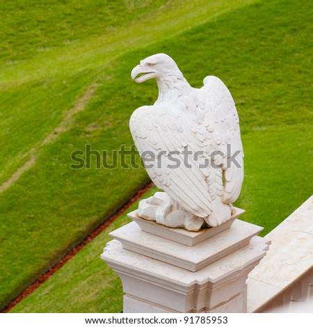 Statue of marble eagle in Bahai temple, Haifa, Israel - stock photo