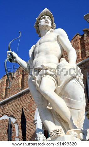 statue of mars ares in the venice in Italy - stock photo