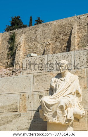 Statue of Menander, Theatre of Dionysus, Athens, Greece - stock photo