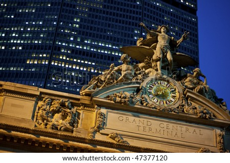 Statue of Mercury at the Grand Central Station in New York City. - stock photo