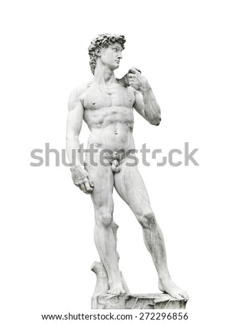Statue of Michelagelo's David on Piazza della Signoria Florence Italy, isolated on white background - stock photo
