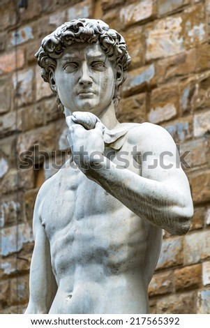 Statue of Michelangelo's David in front of the Palazzo Vecchio in Florence, Italy - stock photo