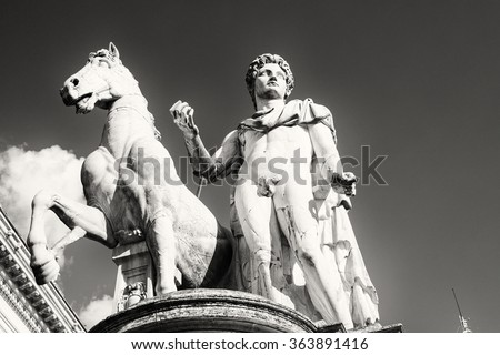 Statue of one of the Dioscuri. The twins Castor and Pollux, born to Leda after her seduction by Zeus. Castor was mortal, but Pollux was immortal. Campidoglio, Rome - stock photo