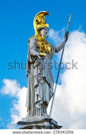 Statue of Pallas Athena Brunnen near Parliament building in Vienna, Austria - stock photo