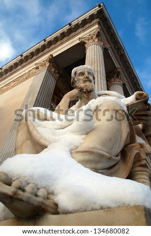 Statue of Pallas Athena in front of the Austrian Parliament in Vienna - stock photo
