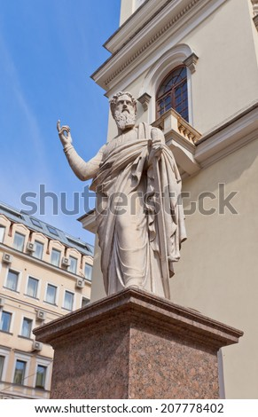 Statue of Paul the Apostle of Lutheran Church of St Peter and St Paul (circa 1838) in Saint Petersburg, Russia. UNESCO site - stock photo