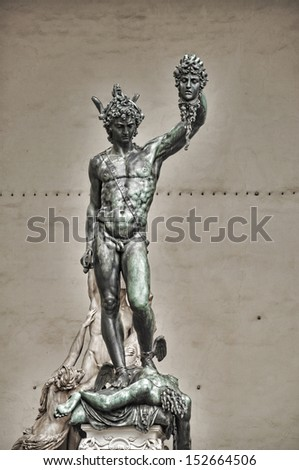 Statue of perseus with head in hand. Florence. Italy. - stock photo