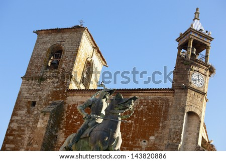 Statue of Pizarro against San Martin Church at city of Trujillo