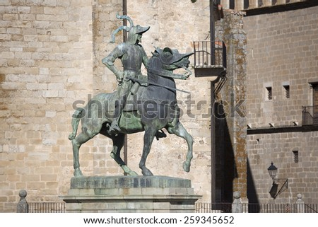 Statue of Pizarro by american artist Charles C. Rumsey in Trujillo, Spain - stock photo