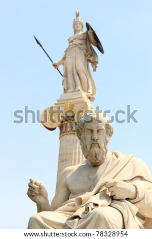 statue of Plato from the Academy of Athens,Greece with the statue of Athena on background - stock photo