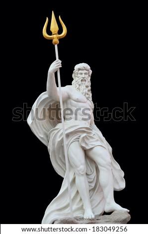 Statue Of Poseidon isolated on black background - stock photo