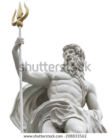 Statue of Poseidon on isolated white background - stock photo
