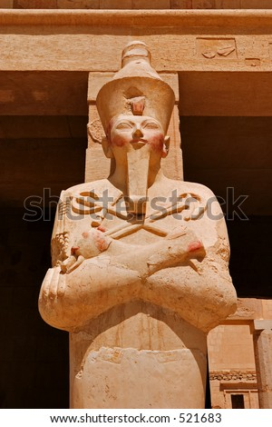 Statue of Queen Hatshepsut, the female Pharaoh, as Osiris in her temple on the west bank of the Nile at Luxor (Thebes) - stock photo