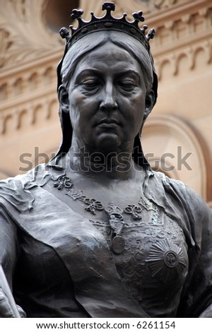 Statue of Queen Victoria in front of the QVB, Sydney, Australia. - stock photo