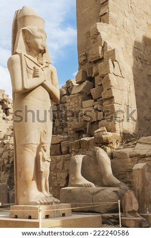 Statue of Ramses II in Karnak temple, Luxor.  Egypt.