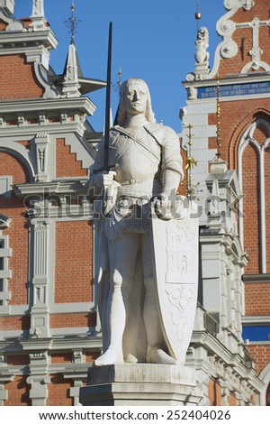 Statue of Roland at the Town Hall square in Riga, Latvia. - stock photo