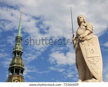 statue of roland in riga capital of latvia - stock photo