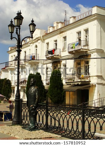 Statue of russian writer Kuprin at Balaklava town waterfront, Crimea, Ukraine - stock photo