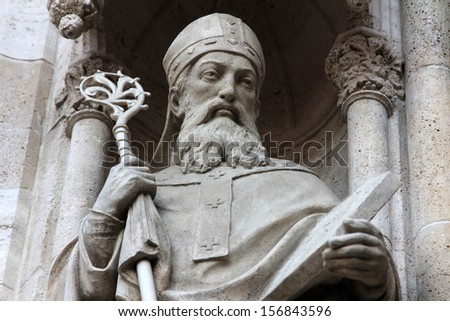 Statue of Saint Methodius on the portal of the cathedral dedicated to the Assumption of Mary and to kings Saint Stephen and Saint Ladislaus in Zagreb, Croatia - stock photo