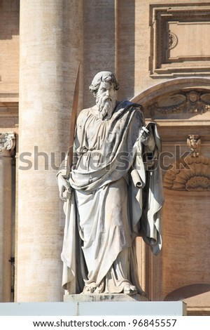 Statue of Saint Paul the Apostle in Vatican City, Rome - stock photo