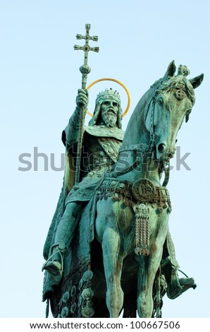 Statue of Saint Stephen I - the first king of Hungary in Budapest Hungary - stock photo