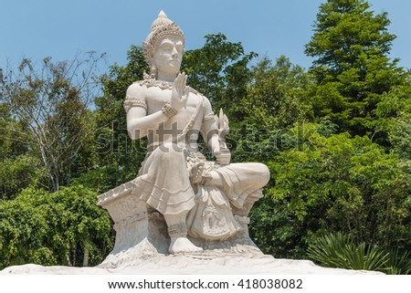 Statue of Sakra in Buddhism - made of white cement beautiful in the temple at wat pahuaylad, Phu-Rua, Loei, and is also a major attraction of Buddhist upper Northeast of Thailand.