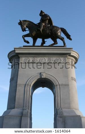 Statue of Sam Houston in Hermann Park - stock photo