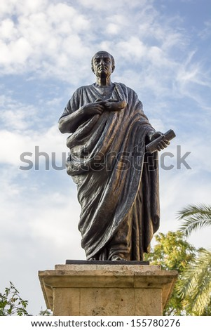 Statue of Seneca in Cordoba - Spain - stock photo