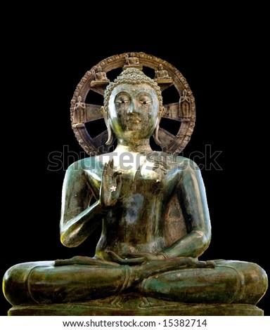 Statue of Siddhartha Gautama (Buddha) sitting in lotus position - stock photo