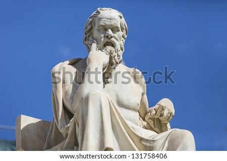 statue of Socrates from the Academy of Athens,Greece - stock photo