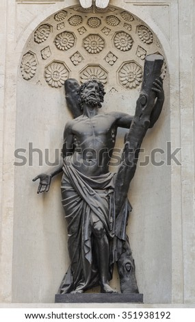 Statue of St. Andrew of the Kazan Cathedral, Saint-Petersburg  - stock photo