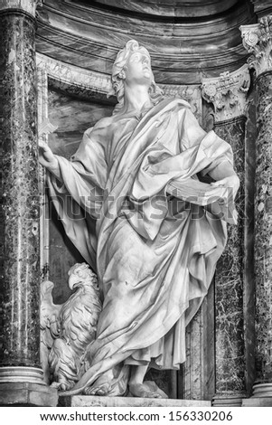 Statue of St. John in the Basilica of St. John Lateran, Rome.