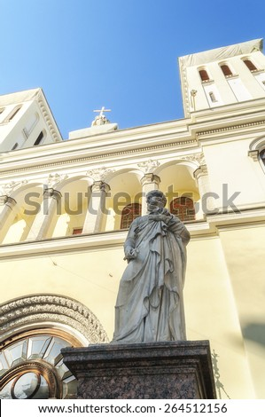 Statue of St. Peter at the entrance of the Lutheran Church of Saints Peter and Paul Church (1838) in St. Petersburg, Russia - stock photo