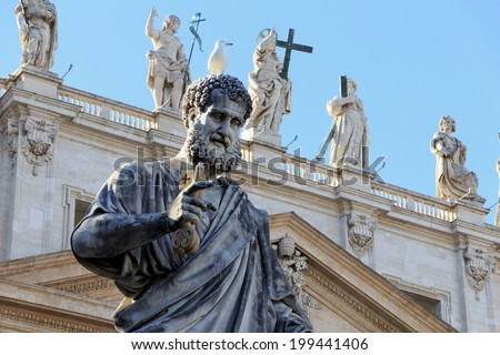 Statue of St. Peter in St. Peters Square (Rome, Italy) - stock photo