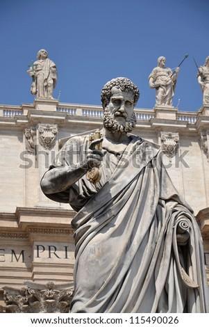 Statue of St. Peter in Vatican - stock photo