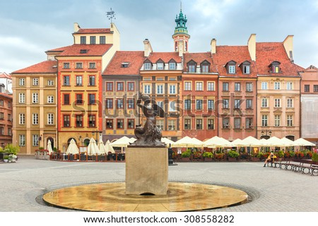 Statue of Syrenka, Mermaid of Warsaw, symbol of the city of Warsaw, at the Old Town Market Square, Poland
