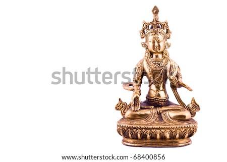 Statue of Tara isolated on white - stock photo