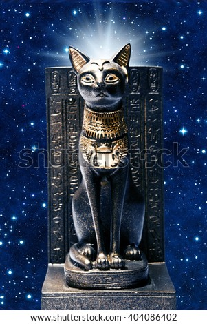 statue of the ancient Egyptian divinity Bastet - stock photo