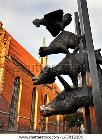 statue of the Bremen Town Musicians in Riga, Latvia - stock photo