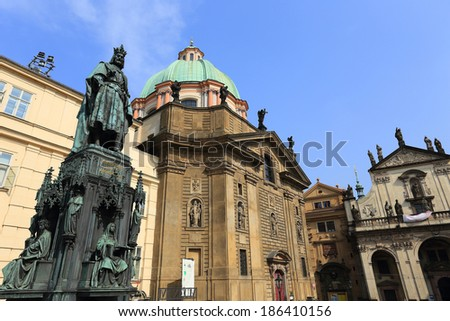 Statue of the Czech King Charles IV. in Prague, Czech Republic