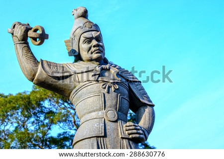 Statue of the General Vikarala, The Twelve Divine Generals. Represents 11pm-1am of the day and Rat of the Chinese 12 Zodiac, and is armed with a vajra. Located in Lantau Island, Hong Kong.