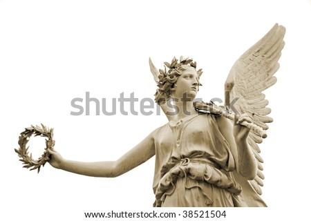 Statue of the goddes Nike, isolated on white background - stock photo