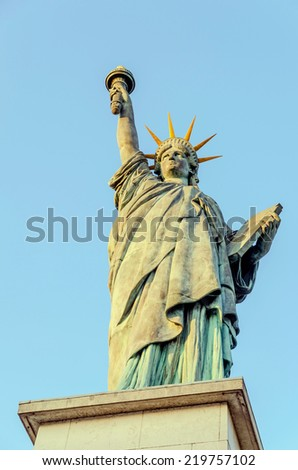 Statue of the Liberty in Paris, France. Front view - stock photo