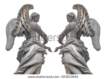 Statue of two angels isolated on white background. - stock photo