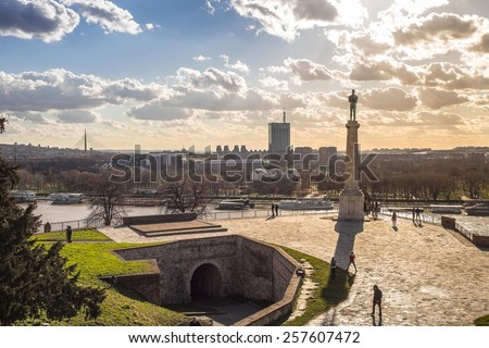 Statue of Victory - Kalemegdan fortress in Belgrade - stock photo