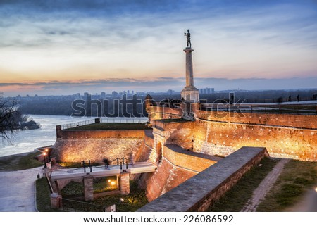 Statue of Victory with a monument in capital city Belgrade, Serbia - stock photo