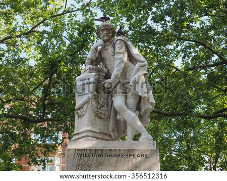 Statue of William Shakespeare built in 1874 in Leicester Square in London, UK - stock photo