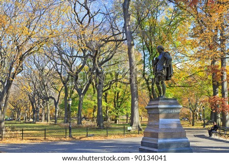 Statue of William Shakespeare on the mall in Central Park in Autumn, New York City - stock photo