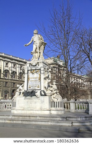 Statue of Wolfgang Amadeus Mozart in front of the national library in Vienna, Austria - stock photo