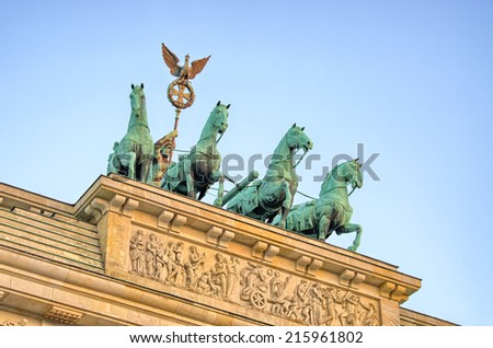 Statue on Brandenburg Gate - Berlin, Germany - stock photo